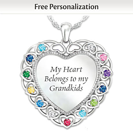 """""""My Heart Belongs To My Grandkids"""" Personalized Necklace"""