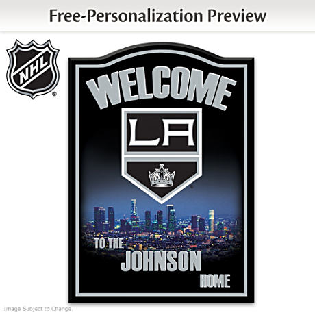 Los Angeles Kings® Wooden Welcome Sign Personalized With Name