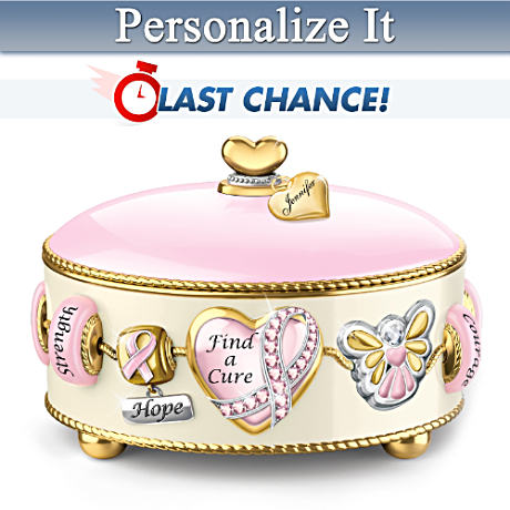 Charm-Inspired Personalized Breast Cancer Support Music Box
