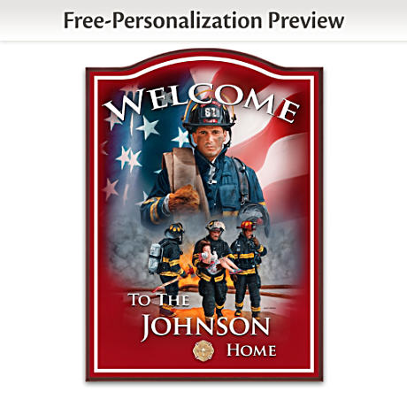 Firefighter Welcome Sign Personalized With Family Name