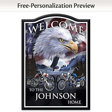 """Ride Hard, Live Free"" Welcome Sign Personalized With Name"