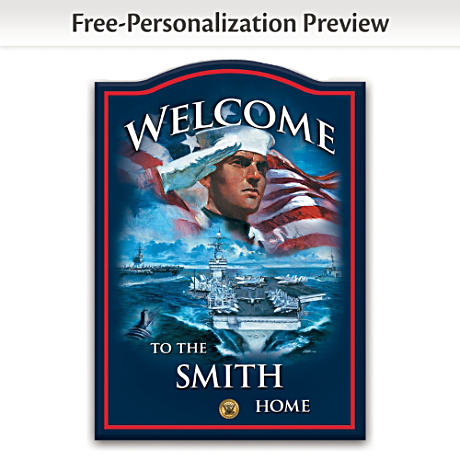 U.S. Navy Wooden Welcome Sign Personalized With Family Name