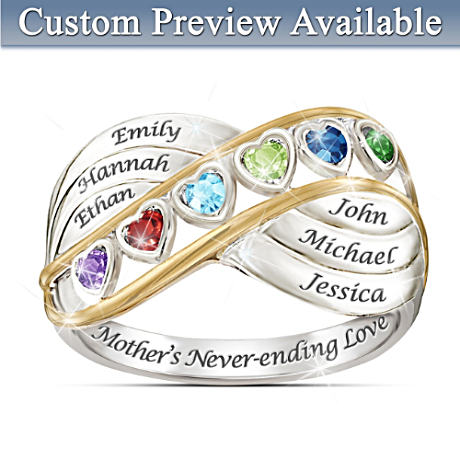 """A Mother's Never Ending Love"" Name-Engraved Birthstone Ring"