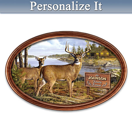 Deer Retreat Personalized Framed Plate