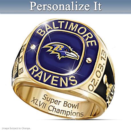Super Bowl XLVII Champions Ravens Personalized Men's Ring