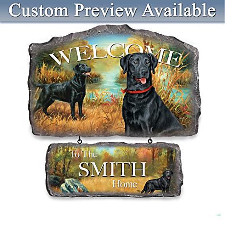Linda Picken Black Labrador Personalized Welcome Sign