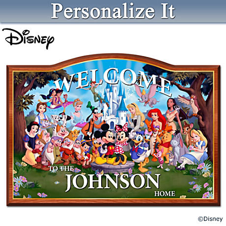 """""""Magic Of Disney"""" Wooden Welcome Sign Personalized With Name"""