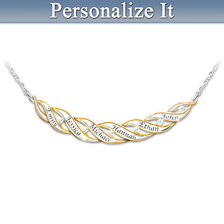 6-Diamond Family Silver Necklace With Up To 6 Engraved Names