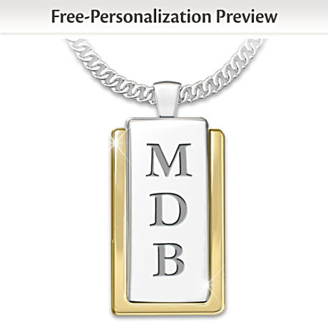 """""""My Father, My Hero"""" Initials-Engraved Dog Tag Pendant"""