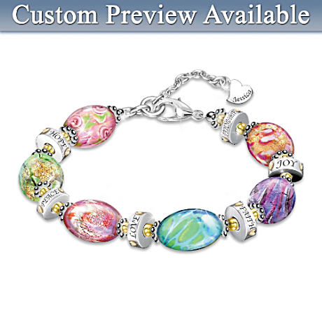 """Daughter I Wish You"" Murano Style Glass Engraved Bracelet"