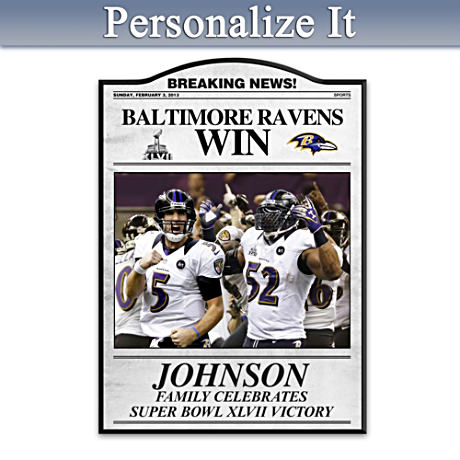 Super Bowl XLVII Champs Ravens Personalized Tribute Plaque