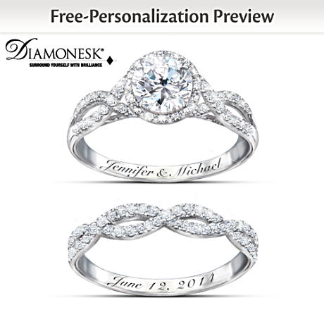 Ring Set Entwined Diamonesk Personalized Bridal Ring Set