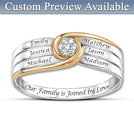 """""""Joined In Love"""" Personalized 7-Diamond Family Engraved Ring"""
