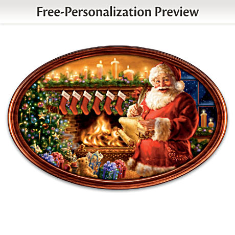 """""""Cherished Christmas Memories"""" Personalized Framed Plate"""