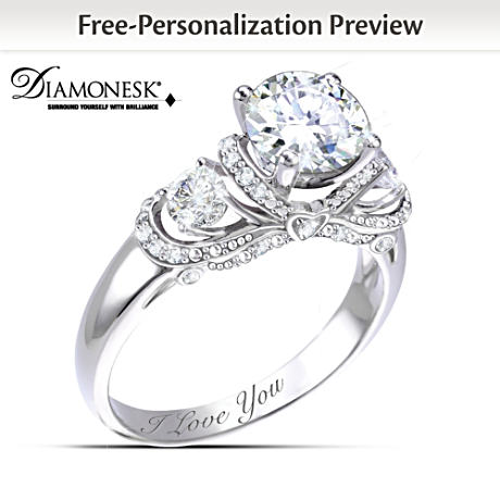 """""""Once Upon A Romance"""" Personalized Diamonesk Bridal Ring"""
