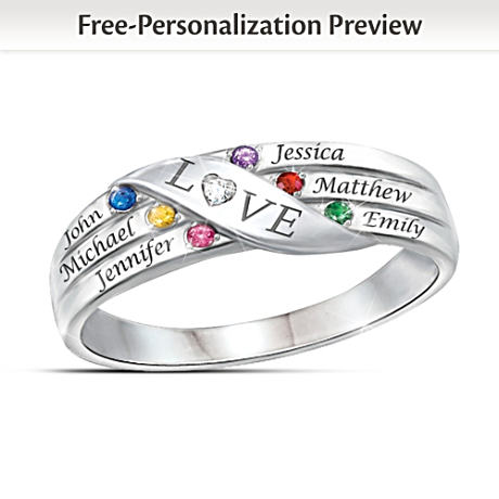 Love Holds Our Family Together Name-Engraved Birthstone Ring