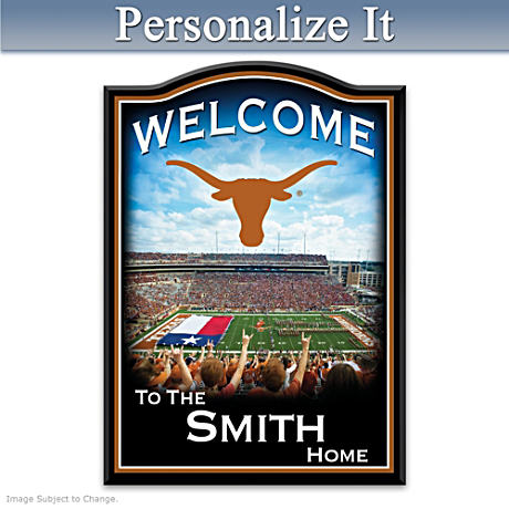 Texas Longhorns Wooden Welcome Sign Personalized With Name