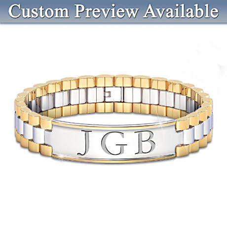 """Always, My Grandson"" Initials-Engraved Men's Bracelet"