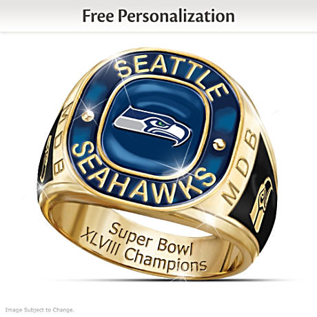 Buy Super Bowl XLVIII Champions Seahawks Personalized Men's Ring