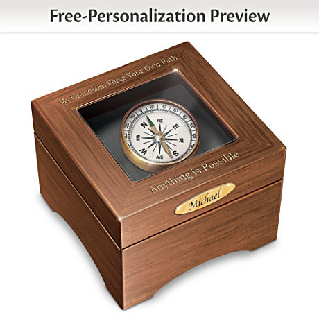 """Grandson, Forge Your Path"" Name-Engraved Keepsake Box"