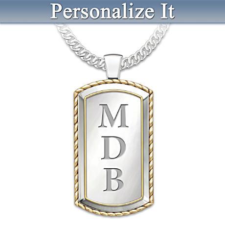 "Monogrammed ""Graduation"" Dog Tag Pendant Necklace"