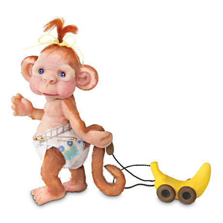 """Monkey Toddles"" Figurine By Lydia Marlene"