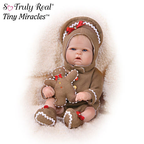 """Ginger Ringle"" Lifelike Baby Doll With Gingerbread Man"