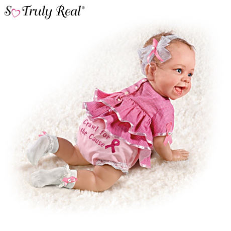 """Crawl For The Cause"" Breast Cancer Support Baby Doll"