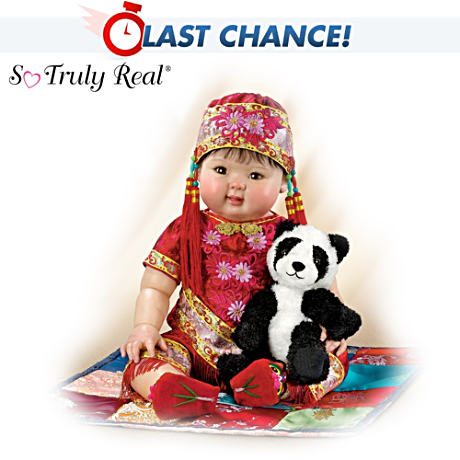 "22"" Lifelike Asian Baby Doll With Detailed Costume"