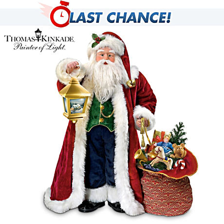 Illuminated Santa Doll With Thomas Kinkade Christmas Art