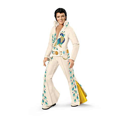 Ball Jointed Elvis Presley Doll In Peacock Jumpsuit