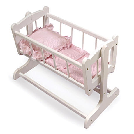 "Rocking Doll Cradle With Pink Gingham Bedding For 22"" Dolls"
