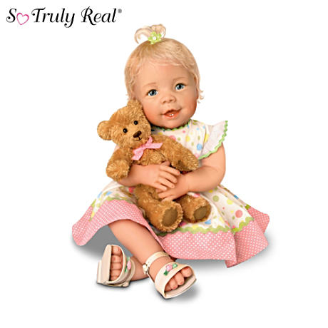 Lifelike Baby Girl Doll With Recordable Teddy Bear