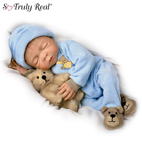 Lifelike Denise Farmer Baby Boy Doll With Plush Teddy-Bear