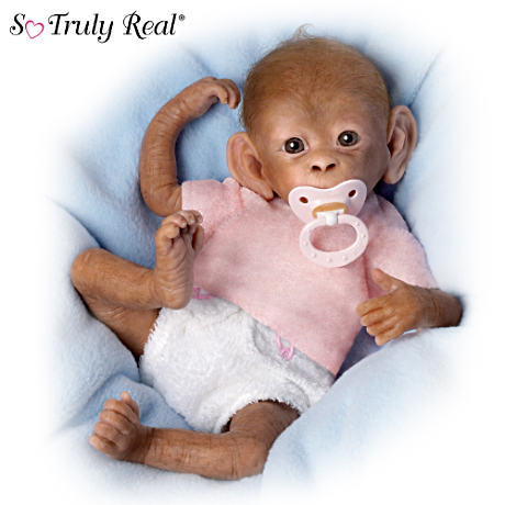 """Coco"" Poseable Lifelike Baby Monkey Doll By Linda Murray"