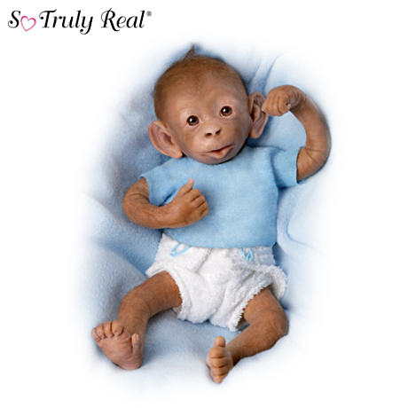 """Bobo"" Poseable Lifelike Baby Monkey Doll By Linda Murray"