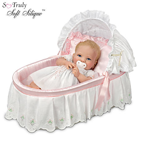 Cheryl Hill Lifelike Baby Doll With Basket And Satin Pillow