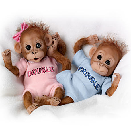 Double Trouble Poseable Baby Orangutan Twins With Wispy Hair