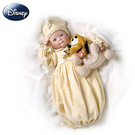 Disney Dreamland Baby With Pluto Porcelain Doll