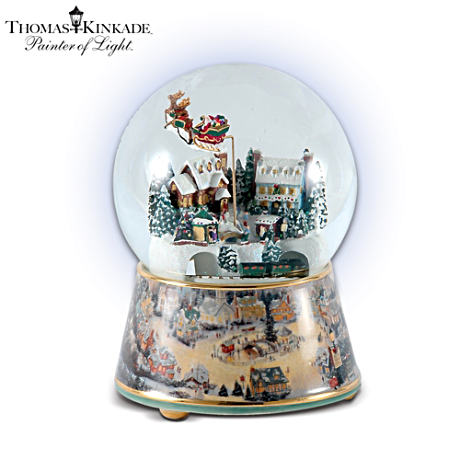 Thomas Kinkade Animated Musical Christmas Snowglobe