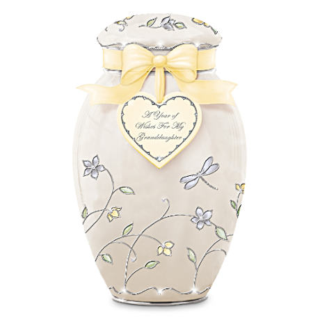 """A Year Of Wishes For Granddaughter"" Musical Ginger Jar"