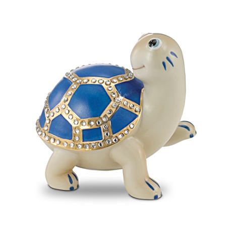 Porcelain Jeweled Turtle Music Box With Deep Blue Shell