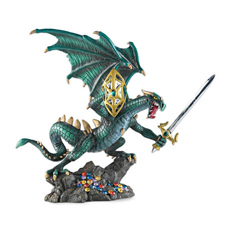 Evil Dragon Figurine With Sword, Shield And Simulated Gems