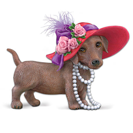 Dachshund Figurine With Oversized Hat And Attitude