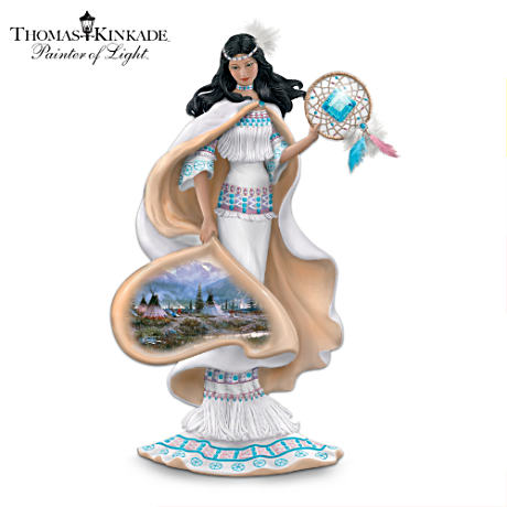 Native American-Inspired Figurine With Thomas Kinkade Art