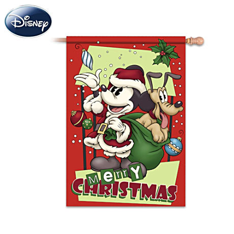 "Retro Mickey Mouse And Pluto ""Merry Christmas"" Flag"