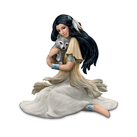 Native American-Inspired Lady And Wolf Figurine