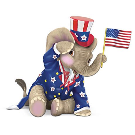 Patriotic-Themed Elephant Figurine Waves Real Fabric Flag