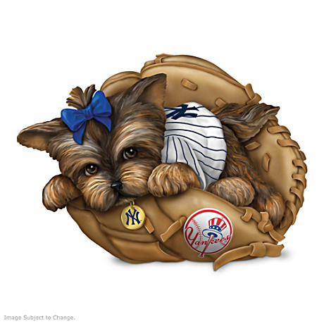 "MLB New York Yankees ""Fur-Ever A Fan"" Yorkie Figurine"