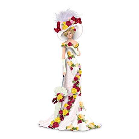 Bone China Pattern-Inspired Elegant Lady Figurine